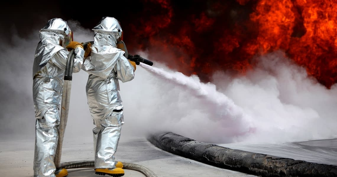 pest controller wearing safety masks